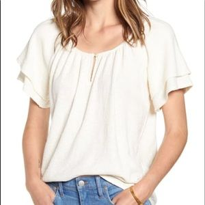 Madewell texture & thread tiered sleeve top ivory